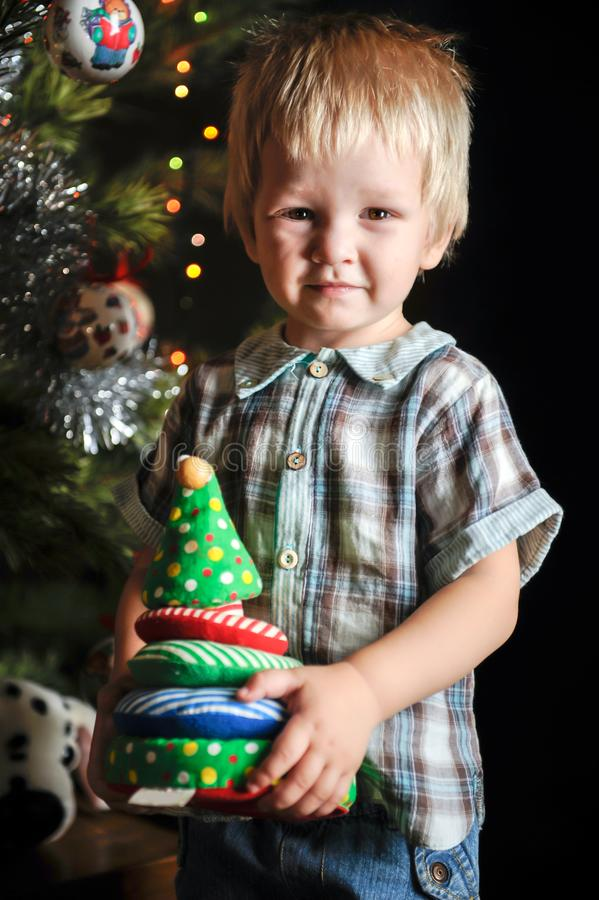 Two little sibling kid boys holding christmas tree. Happy children decorate xmas tree in yours house. Family, tradition, celebrati royalty free stock photography