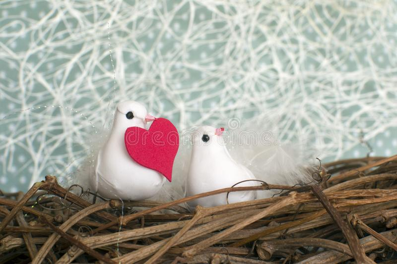 Two little white birds in love in the nest with red heart. Valent royalty free stock photos