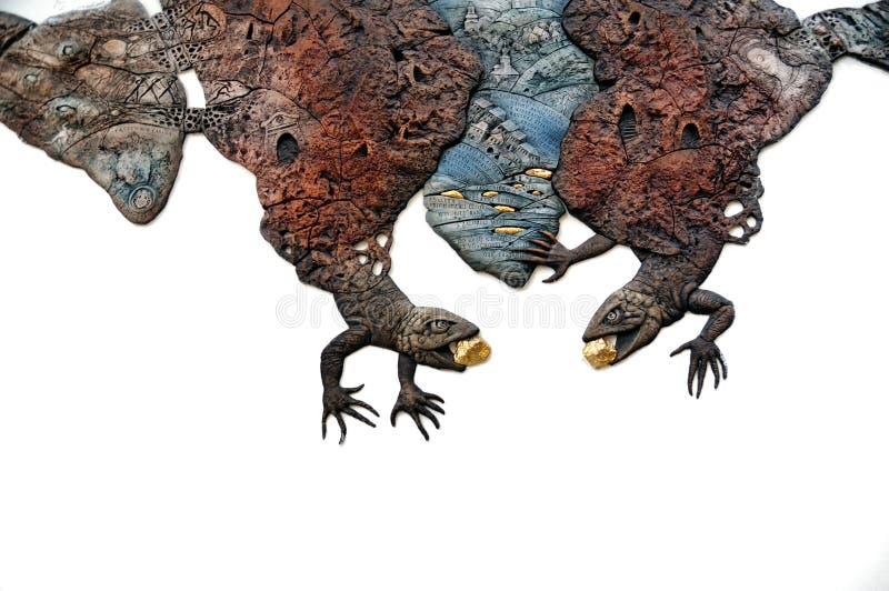 Download Two Lizards, Mining Symbols Of Banska Stiavnica Stock Image - Image of stiavnica, legend: 23538089