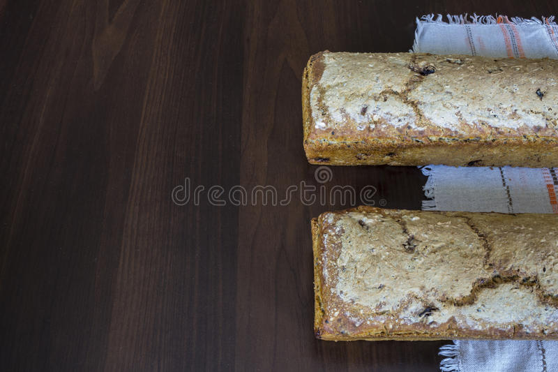 Two loaves of bread baked at home. royalty free stock photo