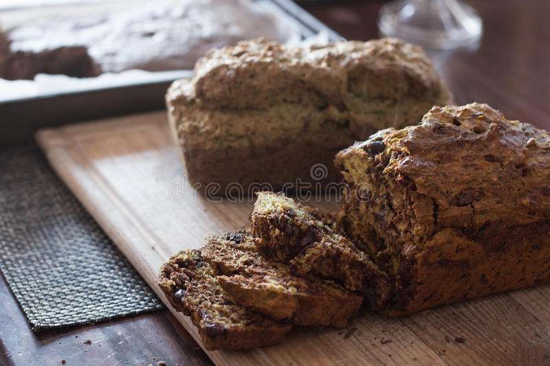 Two loaves of home made zucchini bread royalty free stock images