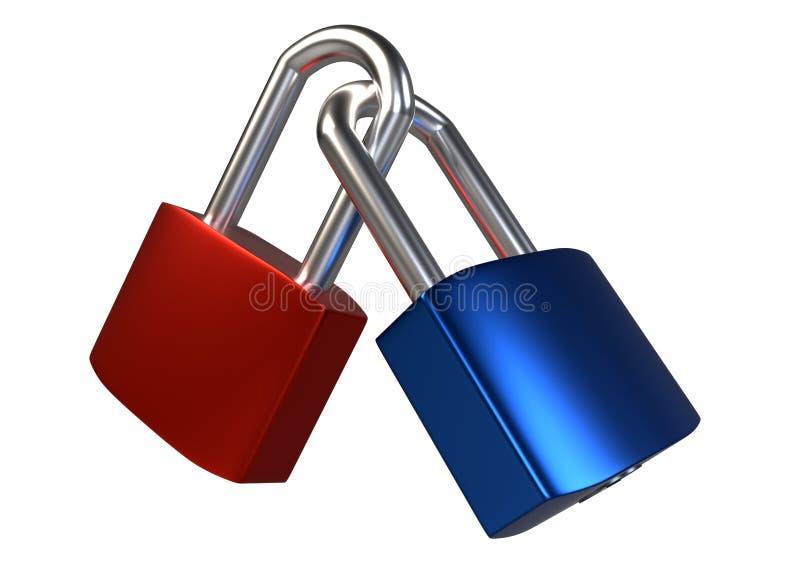 Two locked padlocks isolated on white background. stock illustration