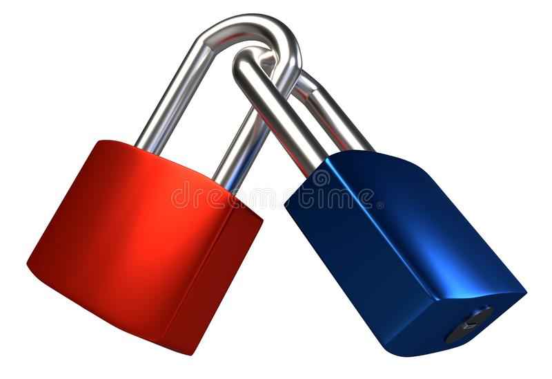 Two locked padlocks isolated on white background. 3D royalty free illustration