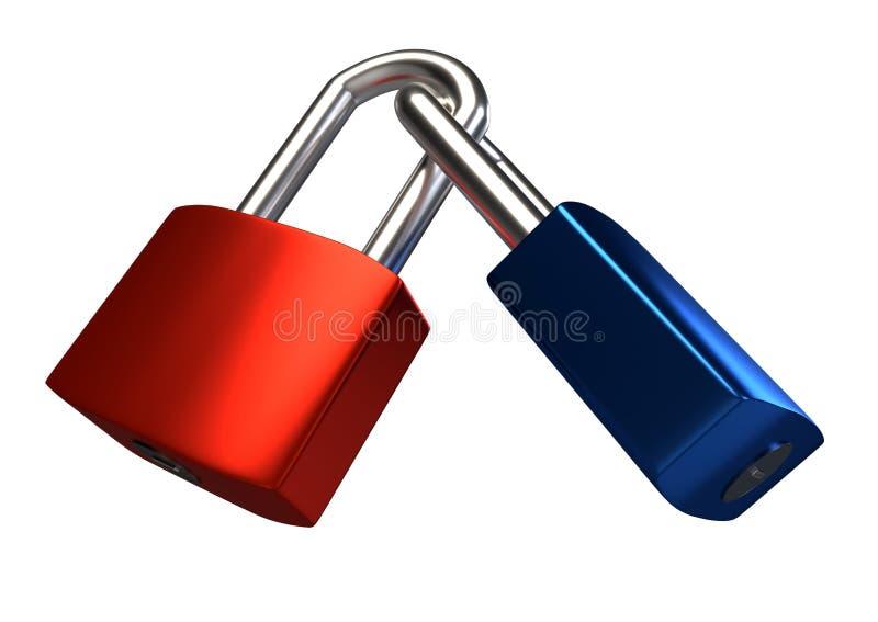 Two locked padlocks isolated on white background. vector illustration