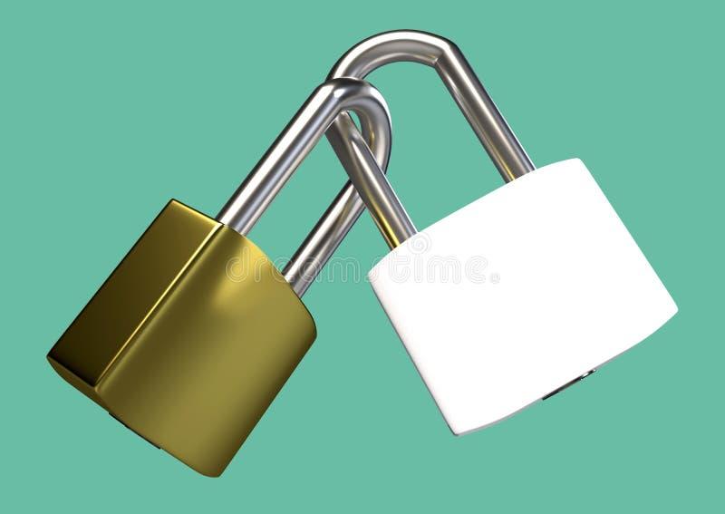 Two locked padlocks. stock illustration