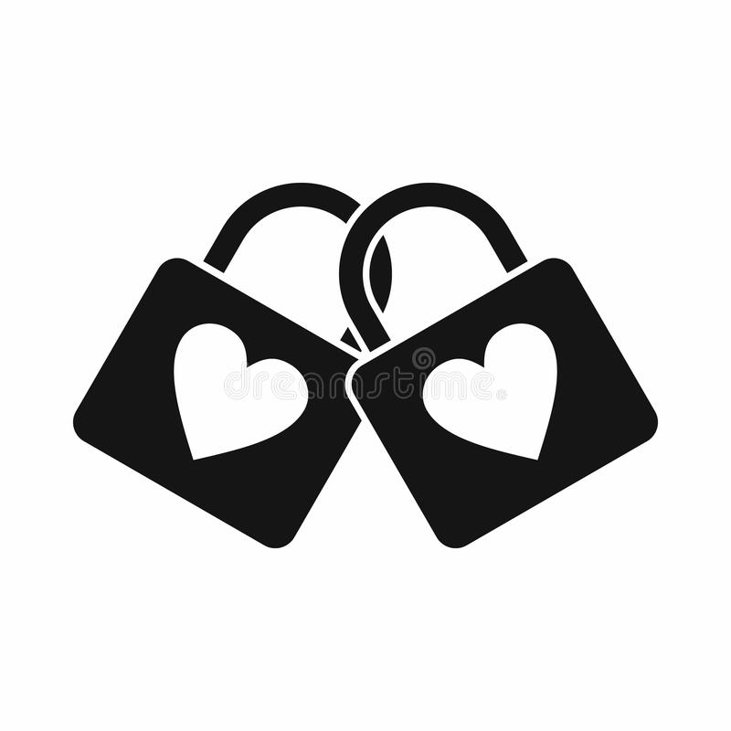 Free Two Locked Padlocks With Hearts Icon, Simple Style Stock Photography - 126044262