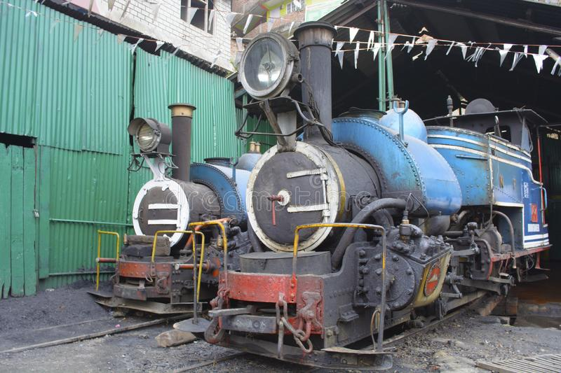 Two locomotive engine in the car shed of kurseong of Darjeeling district of India. royalty free stock photography