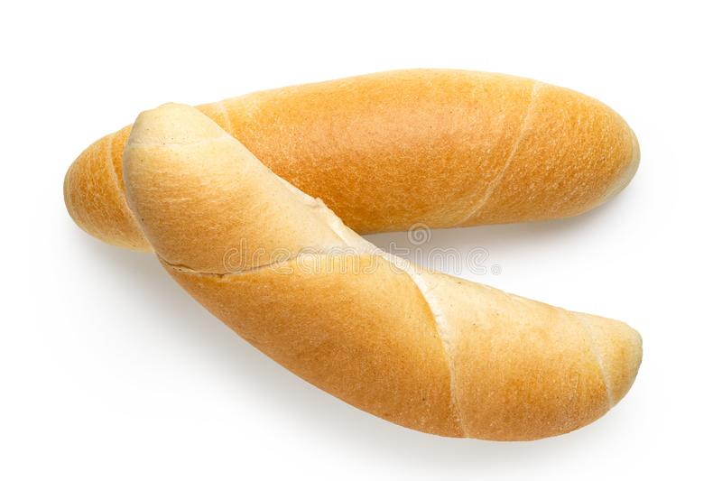 Two long white bread rolls isolated on white. Top view.  royalty free stock photos