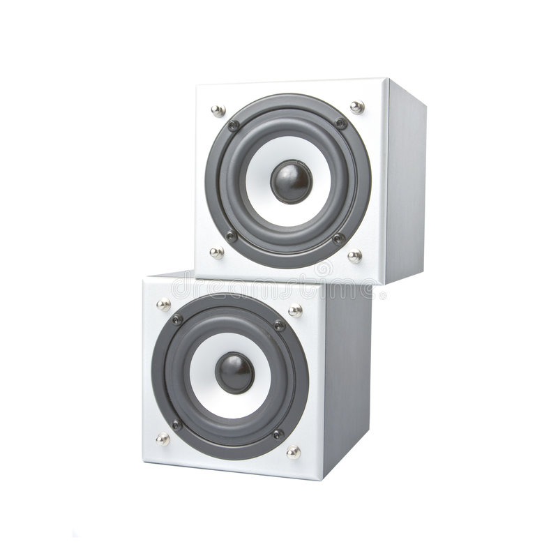 Two loudspeakers facing one to another stock photos