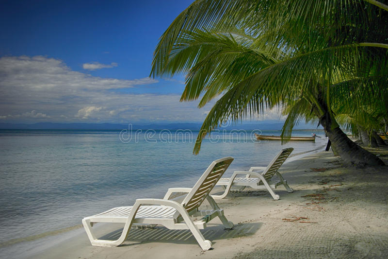 Two lounging chairs on beach. A tranquil early morning beach scene featuring two lounging chairs awaiting beach goers. Also pictured is a palm tree and local royalty free stock photography