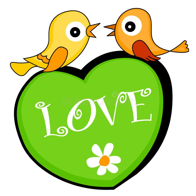 Two love birds sitting on a heart stock photography