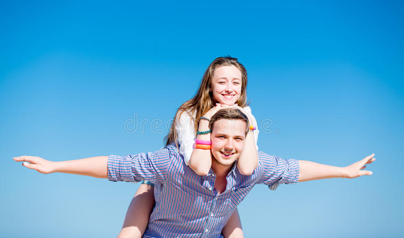 Two in love teens stock photos