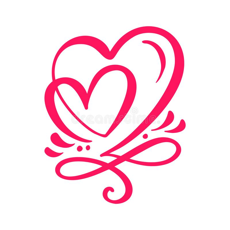 two lover calligraphic hearts handmade vector calligraphy