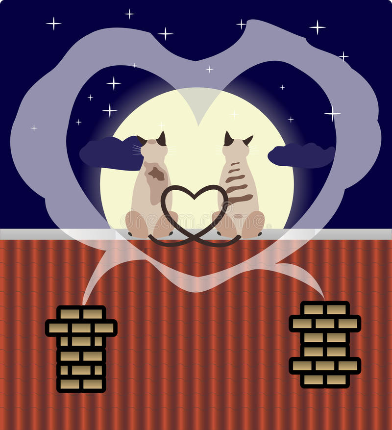 Download Two Lovers Cats On The Roof Stock Vector - Image: 12777206