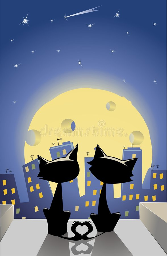 Download Two Lovers Cats On The Roof Stock Vector - Image: 7665260