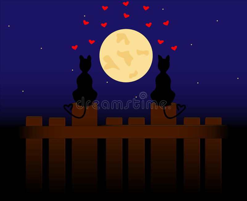 Two lovers cats. Sit on the fence and look at the moon vector illustration