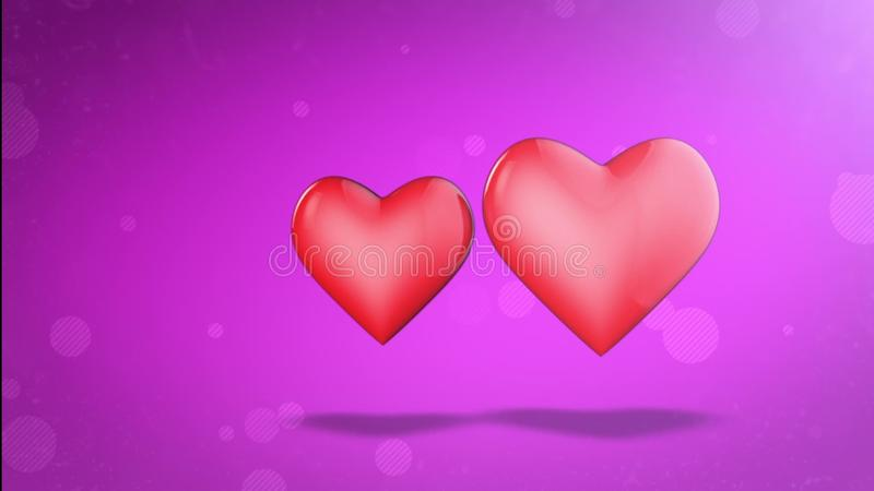 Two Lovers Hearts. Happy Valentine`s Day. 3D Animation. Stock ...