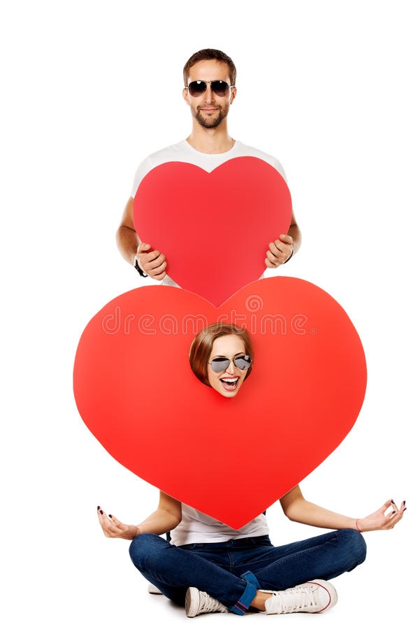 Download Two lovers hearts stock photo. Image of handsome, laugh - 36072908