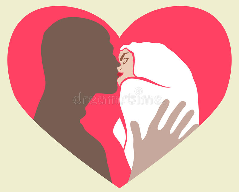Download The two lovers kissing stock illustration. Image of embracing - 24914755