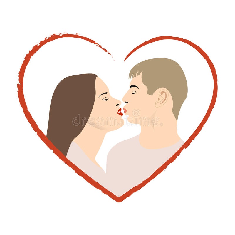 Download Two lovers kissng stock vector. Image of flirting, heterosexual - 12080338