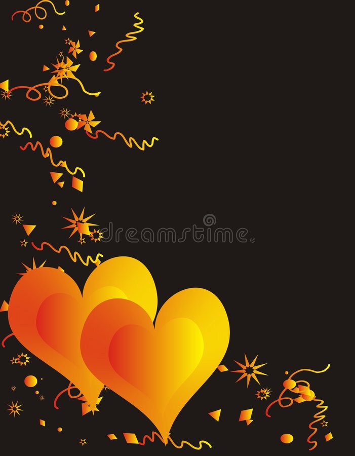 Two Loving Hearts. And stars on black background royalty free illustration