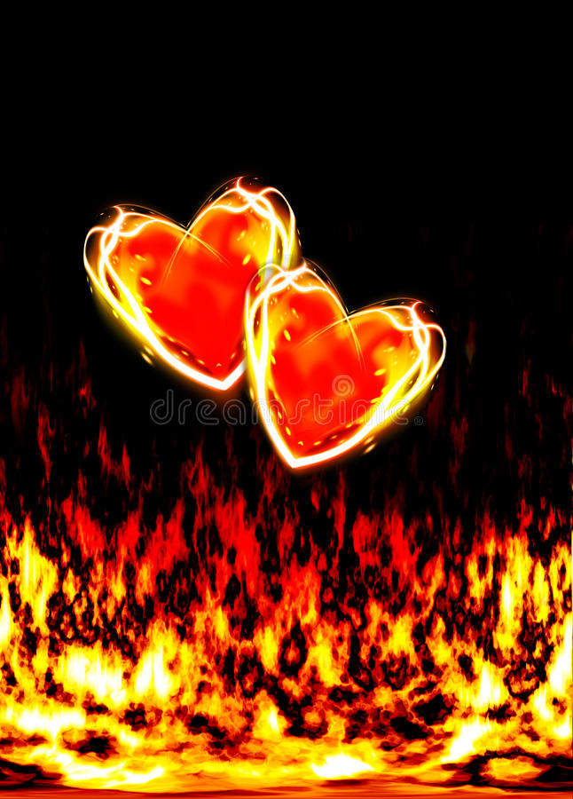 Two loving hearts, burning in the flames of love vector illustration
