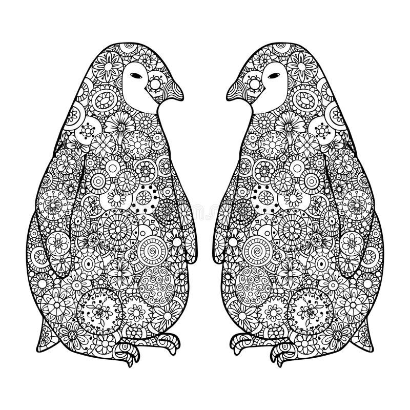 Two loving penguin. Zen tangle vector. Zentangle Antarctica black and white. stock illustration