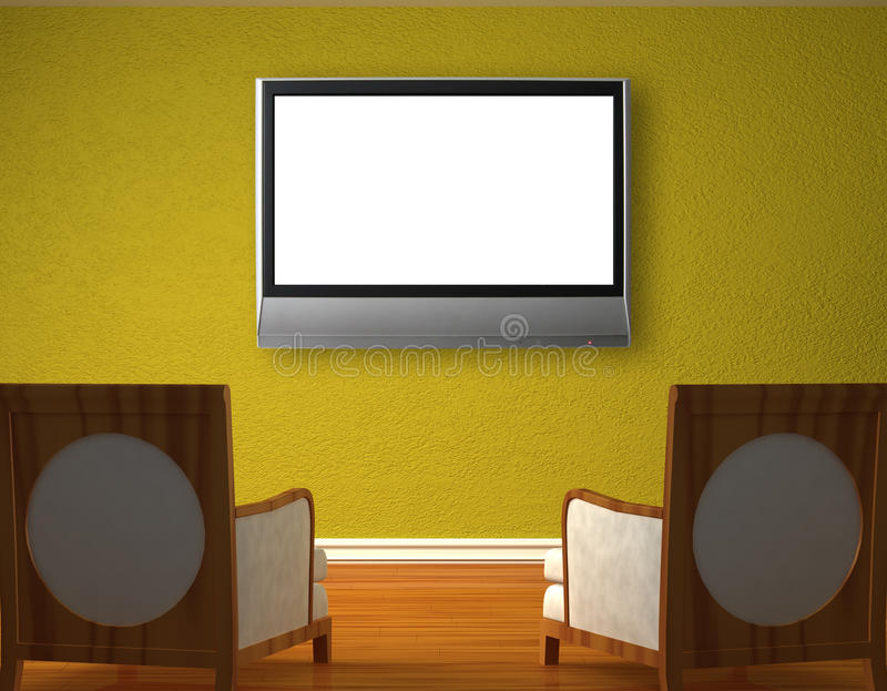 Two luxurious chairs opposite green wall vector illustration