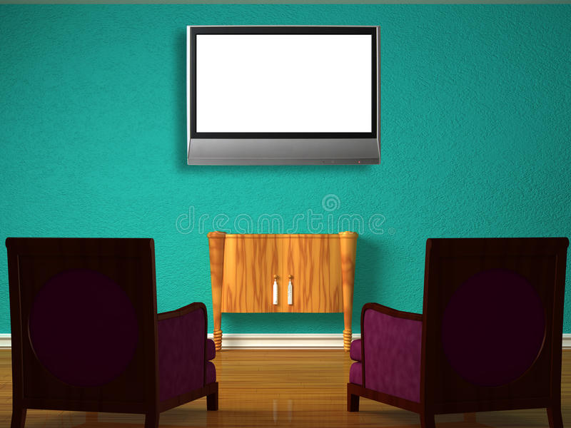 Two luxurious chairs with wooden table and LCD tv royalty free illustration