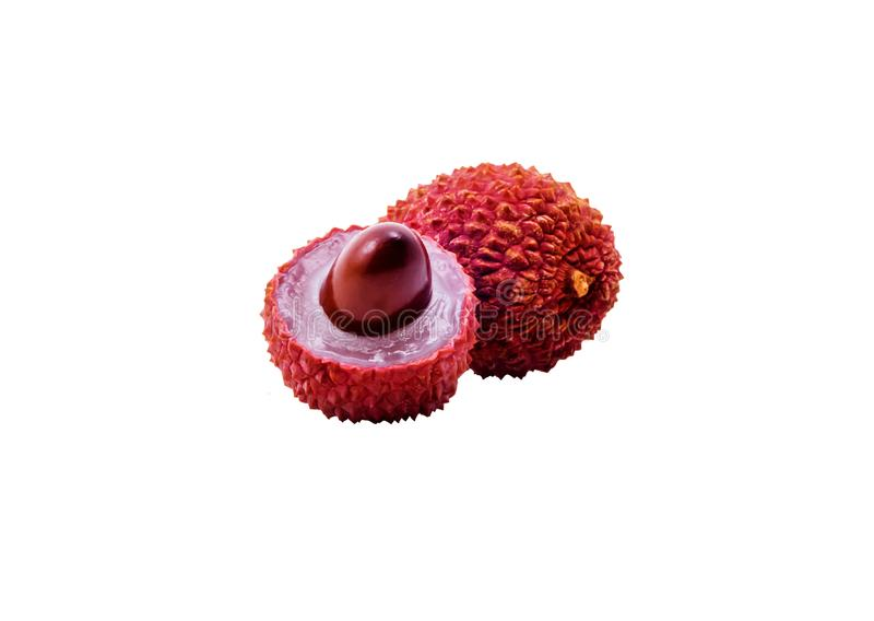 Lychee fruits on white background stock photo