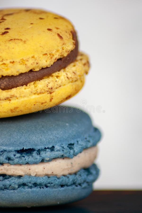 Two Macaron Cookies in Closeup Photo stock photos