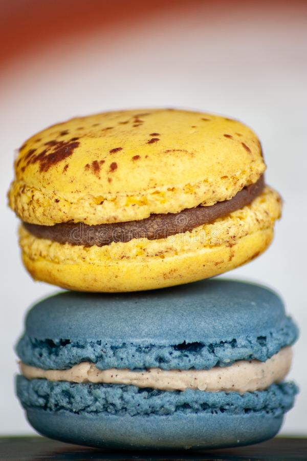 Two Macaron Cookies in Closeup Photo stock photography
