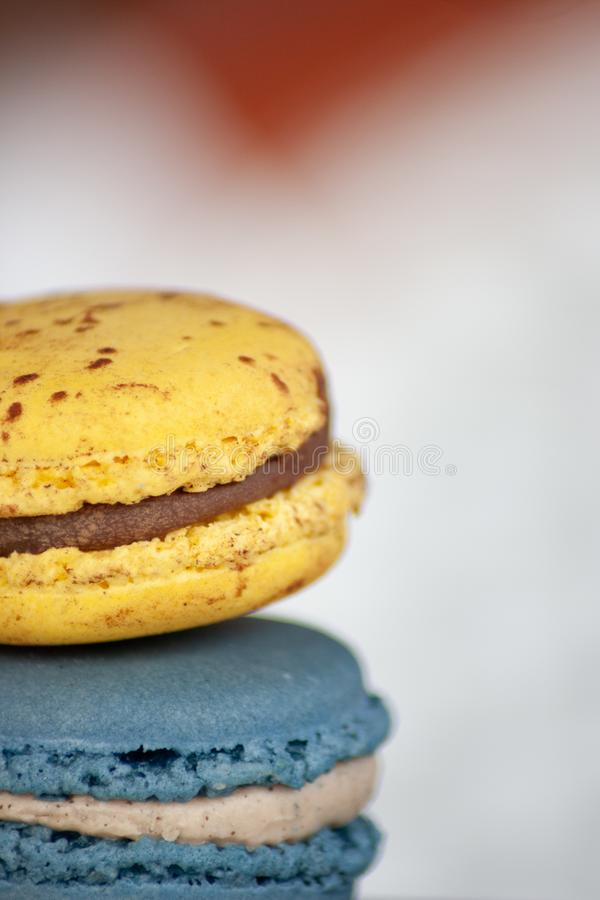 Two Macaron Cookies in Closeup Photo royalty free stock photos