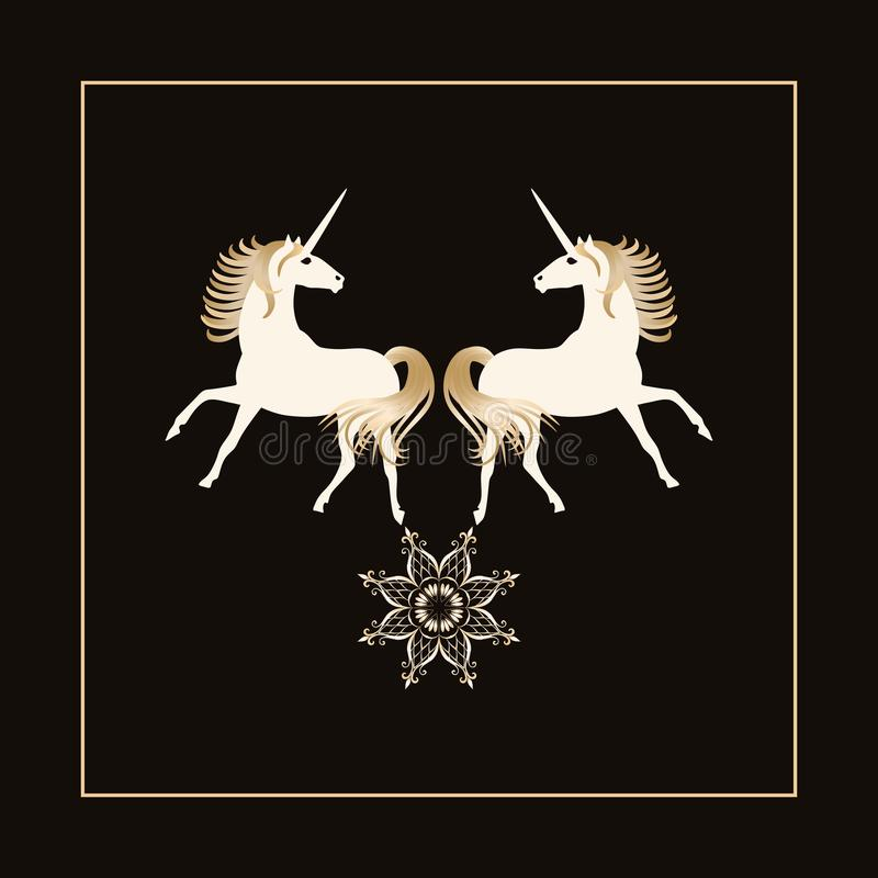 Two magical unicorns with golden manes and star - mandala isolated on black background in vector. Beautiful logo.  stock illustration