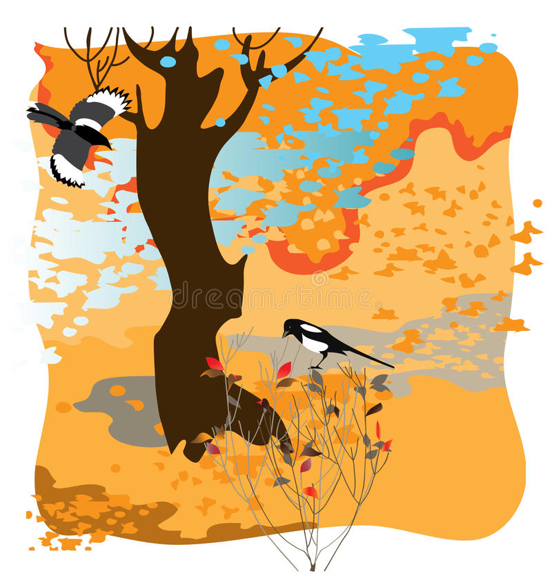 Two magpies stock illustration