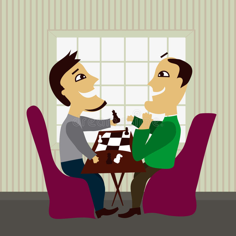 Two Male Friends Playing Chess Stock Images