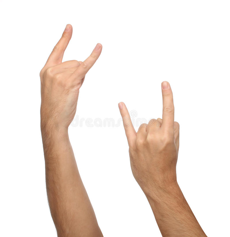 Two Male Hand Signs. Isolated On White Stock Photo
