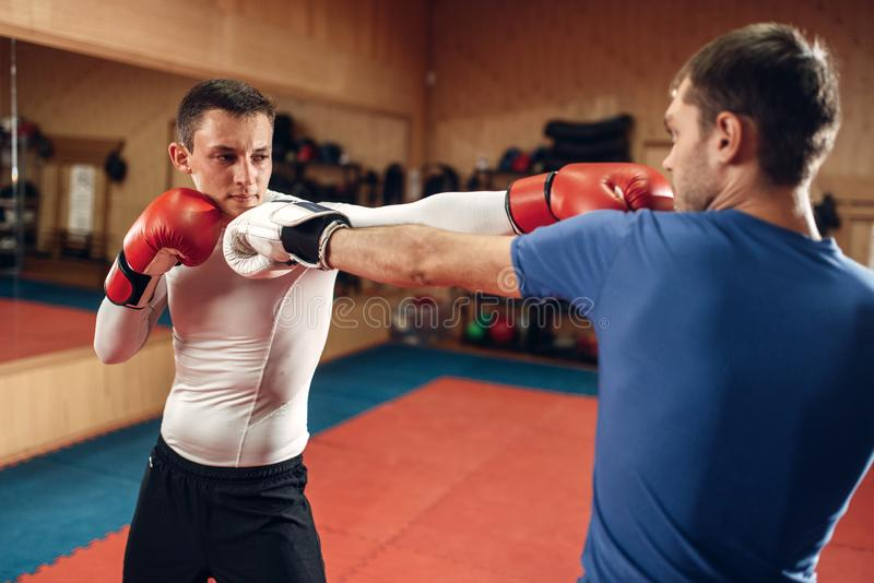 Two male kickboxers practicing on workout in gym royalty free stock photo
