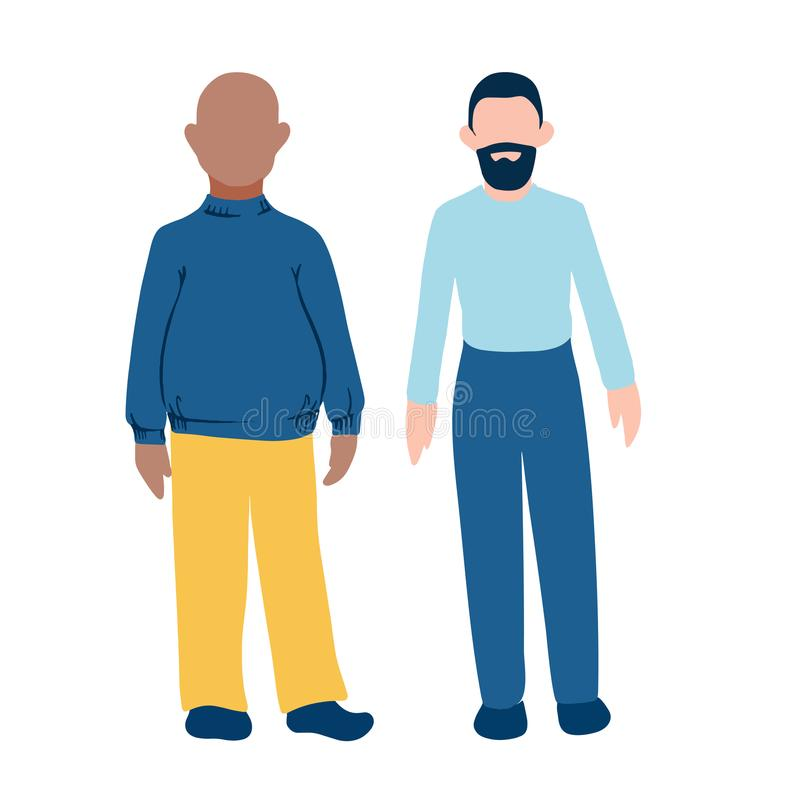 Two male personages with different skin color and body shape. Fat dark skin and tall light skin bearded hairless men flat style ic. On for business concept or royalty free illustration