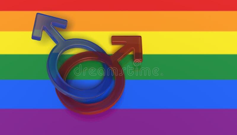 Two male symbols on a rainbow flag stock illustration