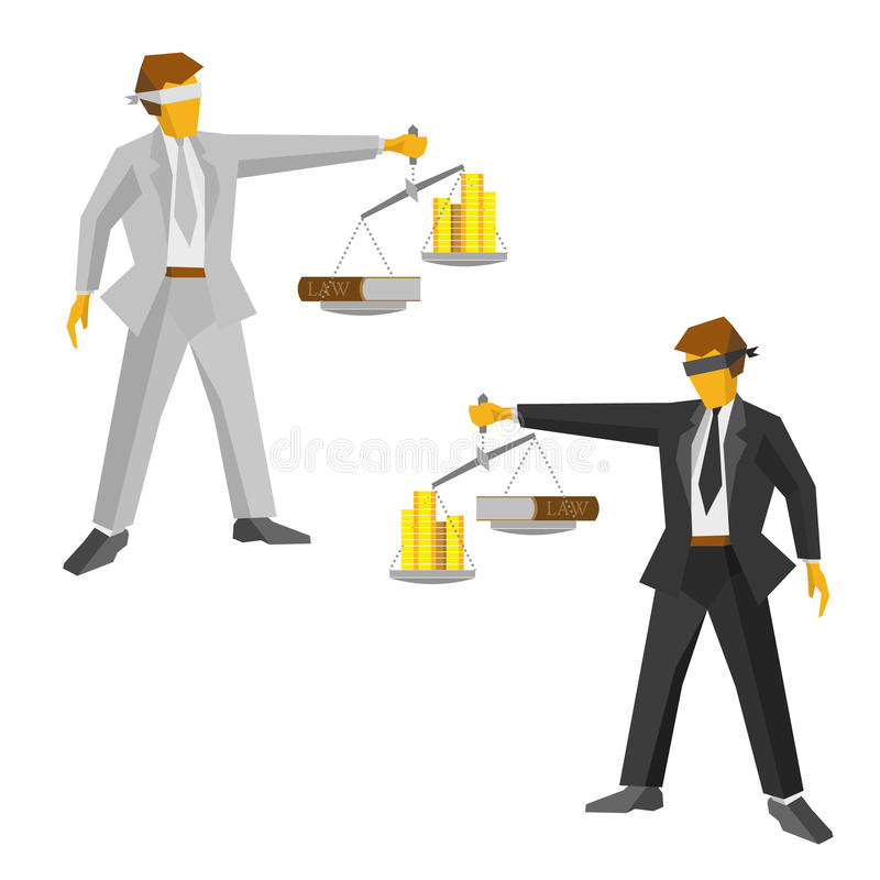 Two man in black and white with balance. Legal concept. vector illustration