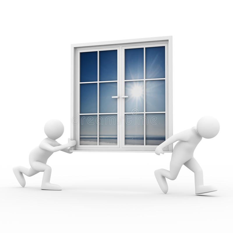 Two Man Carry Window On White Background Stock Photo