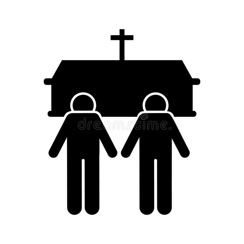 Two man coffin death funeral icon. Element of pictogram death illustration.  vector illustration