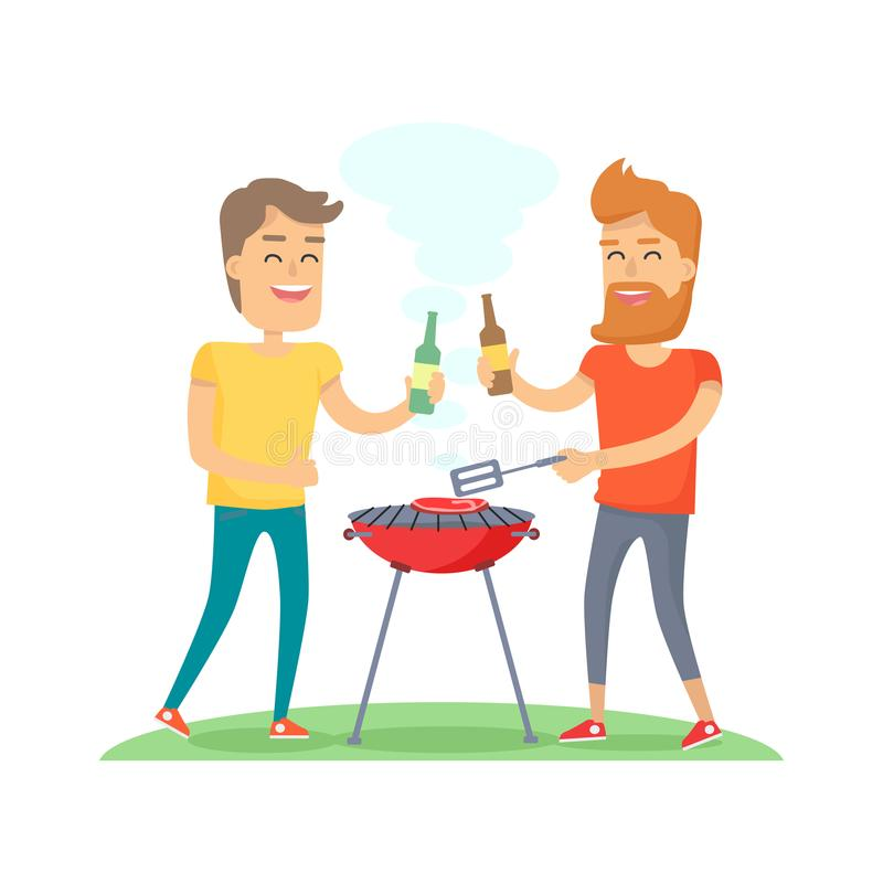 Two Man Fried Meat on Barbecue Friends Forever stock illustration