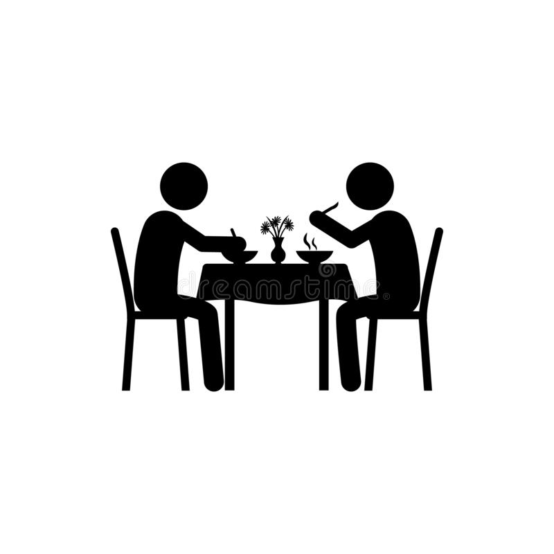 two man, eating in restaurant icon. Element of dinner in a restaurant illustration. Premium quality graphic design icon. Signs and vector illustration