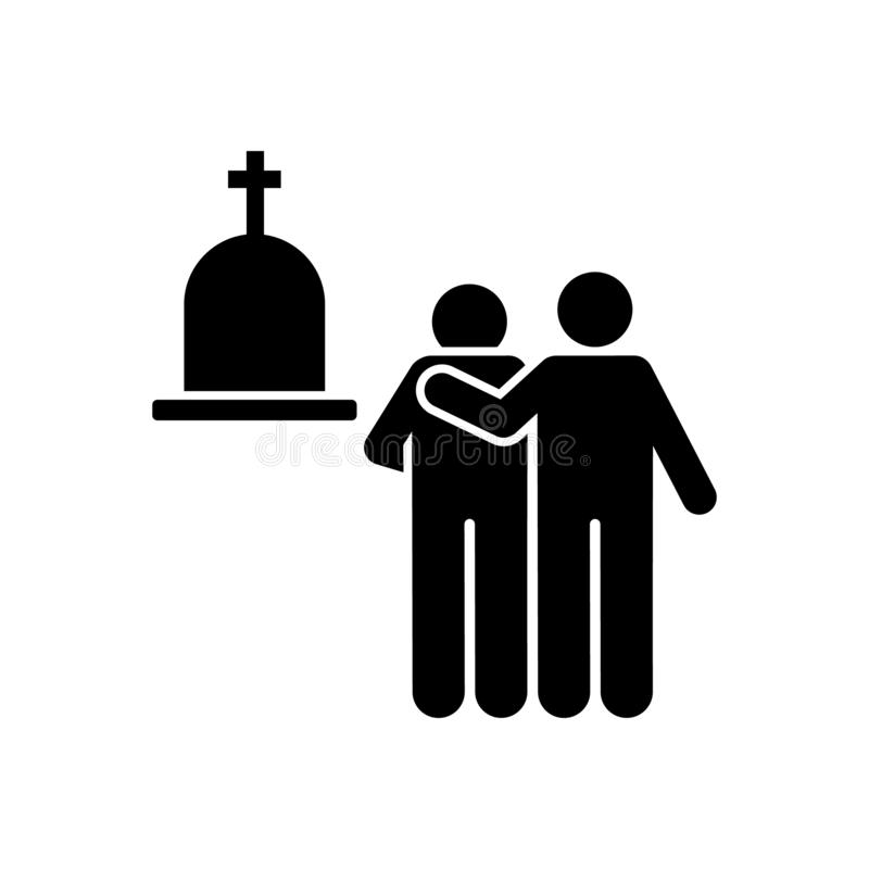 Two man funeral friend grief icon. Element of pictogram death illustration.  vector illustration