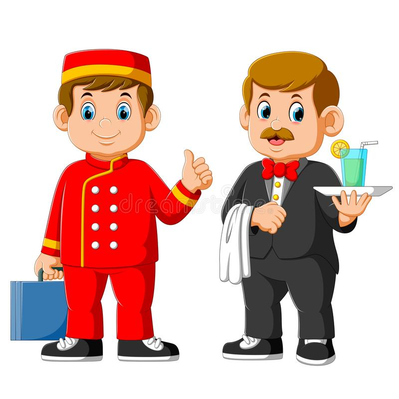 Two man of Hotel staff wearing uniform, waiter and receptionist vector illustration
