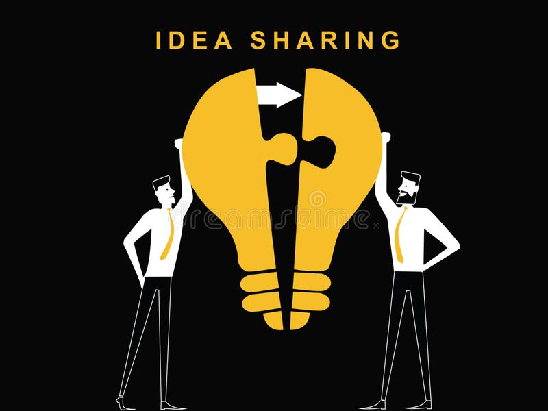 Two man are sharing the idea. Bulb puzzle to unite the one idea stock illustration