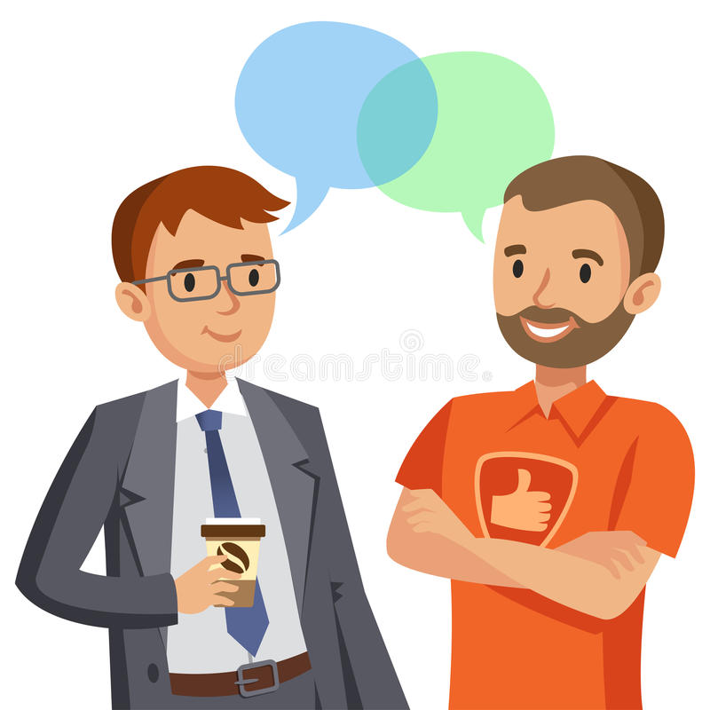 Two man talking. Meeting of friends or colleagues. Vector stock illustration