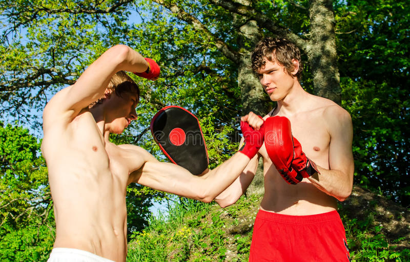 Two man training Muay thai royalty free stock photography